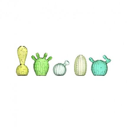 Zestaw pięciu wazoników w kształcie kaktusów MHZ1-46